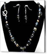 3545 Black Cracked Agate Necklace And Earring Set Canvas Print