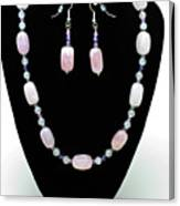 3560 Rose Quartz Necklace And Earrings Set Canvas Print