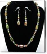 3565 Unakite Necklace And Earrings Set Canvas Print