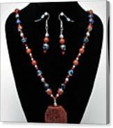 3578 Jasper And Agate Long Necklace And Earrings Set Canvas Print