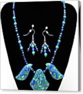 3582 Lapis Lazuli Malachite Necklace And Earring Set Canvas Print