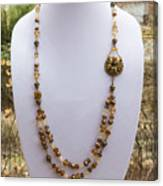 3615 Long Pearl Crystal And Citrine Necklace Featuring Vintage Brass Brooch  Canvas Print