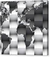 3d Black And White World Map Composition Canvas Print