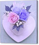 A Gift Of Preservrd Flower And Clay Flower Arrangement, Blue And Canvas Print