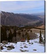 A Snowy Desert Mountain Scene Above Twin Lakes Along The Trail To Monument Ridge In The Eastern Sier Canvas Print