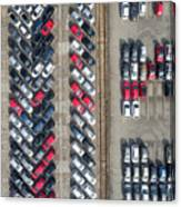Aerial View Lot Of Vehicles On Parking For New Car. Canvas Print