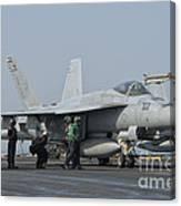 An Fa-18f Super Hornet On The Flight Canvas Print
