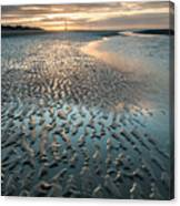 Beautiful Beach Coastal Low Tide Landscape Image At Sunrise With Canvas Print