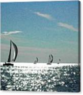 4 Boats On The Horizon Canvas Print