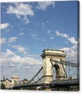 Chain Bridge On Danube River Budapest Canvas Print
