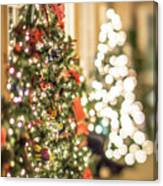 Christmas Tree And Decorations With Shallow Depth Of Field Canvas Print