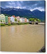 City Of Innsbruck Colorful Inn River Waterfront Panorama Canvas Print