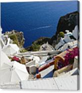 Cliff Perched Houses In The Town Of Oia On The Greek Island Of Santorini Greece Canvas Print