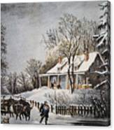 Currier & Ives: Winter Scene Canvas Print