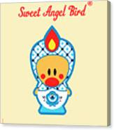 Cute Art - Blue And White Flower Folk Art Sweet Angel Bird In A Nesting Doll Costume Wall Art Print Canvas Print