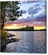 Dramatic Sunset At Lake Canvas Print