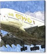Etihad Airlines Airbus A380 Art Canvas Print