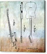 Fender Guitar Patent From 1951 Canvas Print