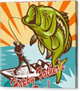 Fly Fisherman On Boat Catching Largemouth Bass Canvas Print