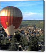 Hot Air Balloon Over Burgundy Canvas Print