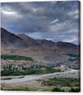 Indus River And Kargil City Leh Ladakh Jammu Kashmir India Canvas Print