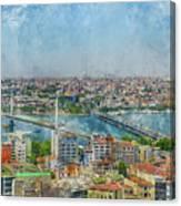 Istanbul Turkey Cityscape Digital Watercolor On Photograph Canvas Print