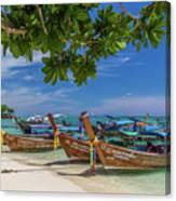 Long-tail Boats, The Andaman Sea And Hills In Ko Phi Phi Don, Th Canvas Print