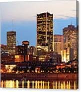 Montreal Over River At Dusk  Canvas Print