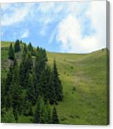 Natural Scenery With Mountains And Cloudy Sky. Canvas Print