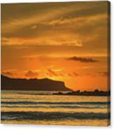 Orange Sunrise Seascape And Silhouettes Canvas Print