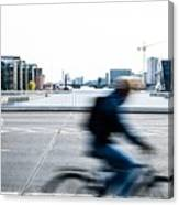 People Cycling In Copenhagen Canvas Print