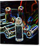 Pop Art Of .45 Cal Bullets Comming Out Of Pill Bottle Canvas Print