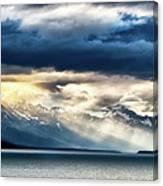 Sunset In Alaskan Fjords In Mud Bay Near Sjagway Canvas Print
