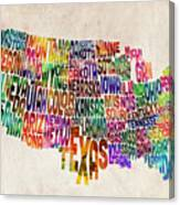 United States Text Map Canvas Print