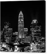 View Of Charlotte Skyline Aerial At Sunset Canvas Print
