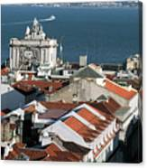 View Of Lisbon Harbor And Clock Tower Canvas Print