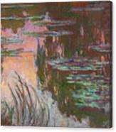Water Lilies, Setting Sun Canvas Print