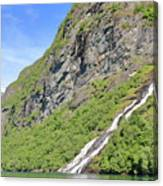 Waterfall In Geiranger Norway Canvas Print