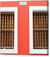 Wooden Door In Old San Juan, Puerto Rico Canvas Print