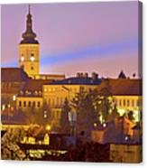 Zagreb Historic Upper Town Night View Canvas Print