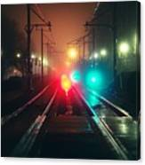 47015 Miscellaneous Rail Track Rail Track And Lights Canvas Print