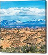 Canyon Badlands And Colorado Rockies Lanadscape Canvas Print