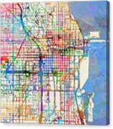 Chicago City Street Map Canvas Print