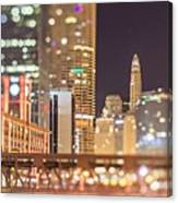 Chicago Illinois Tilt Effect Cityscape At Night Canvas Print