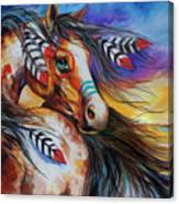 5 Feathers Indian War Horse Canvas Print