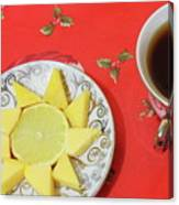 On The Eve Of Christmas. Tea Drinking With Cheese. Canvas Print