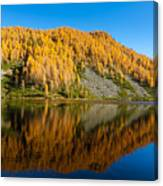 Reflections On Water, Autumn Panorama From Mountain Lake Canvas Print
