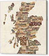 Scotland Typography Text Map Canvas Print