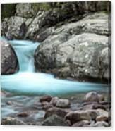 Slow Shutter Photo Of Figarella River At Bonifatu In Corsica Canvas Print