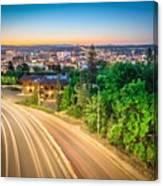 Spokane Washington City Skyline And Streets Canvas Print
